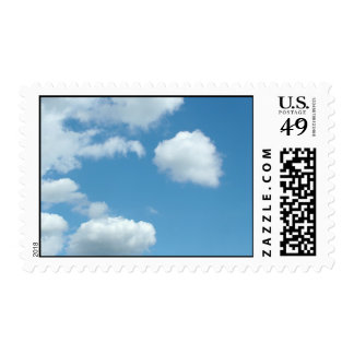 blue sky and white clouds postage