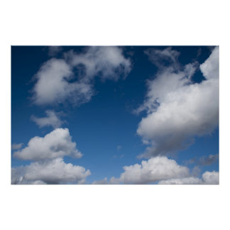 blue sky and white clouds poster