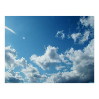 blue sky and white clouds posters