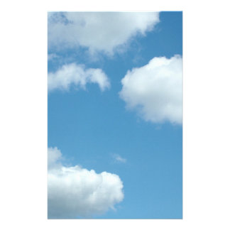 blue sky and white clouds personalized stationery
