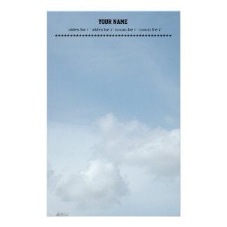 Blue sky and white clouds. personalized stationery