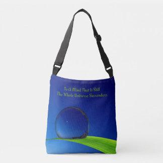 Blue Sky at Dawn Moon Dewdrop Stillness Quote Crossbody Bag