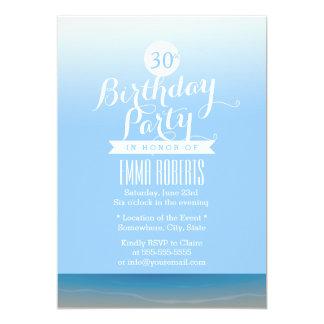 Blue Sky Beach Theme Birthday Party Card