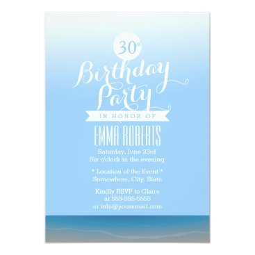 Beach Themed Blue Sky Beach Theme Birthday Party Card