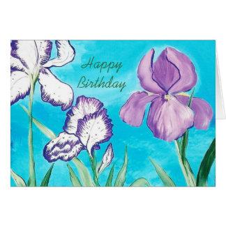 Blue Sky Birthday Card with Iris