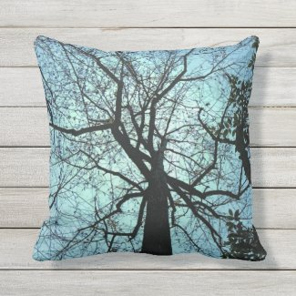 Blue Sky Black Tree Abstract Outdoor Pillow