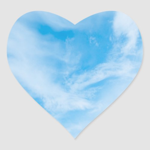 Blue Sky Blank Template Nature White Clouds Heart Sticker