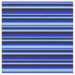 [ Thumbnail: Blue, Sky Blue & Black Striped/Lined Pattern Fabric ]