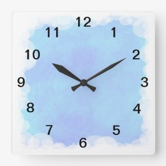 Blue Sky Bubbles and Clouds Wall Clock