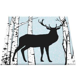 Blue Sky Buck Deer Birch Forest Wrapped Canvas