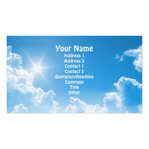Blue Sky Double-Sided Standard Business Cards (Pack Of 100)