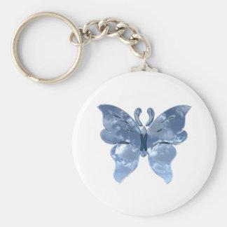 Blue Sky Butterfly Basic Round Button Keychain