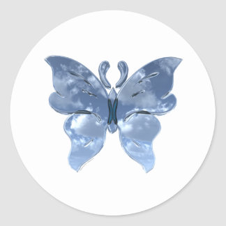 Blue Sky Butterfly Classic Round Sticker