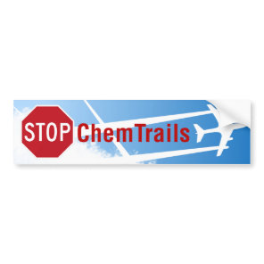 Blue Sky Chemtrails Plane Spraying Death Skull Bumper Sticker