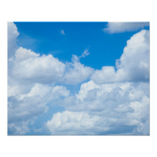 Blue Sky Clouds Background Skies Heaven Design Poster at Zazzle