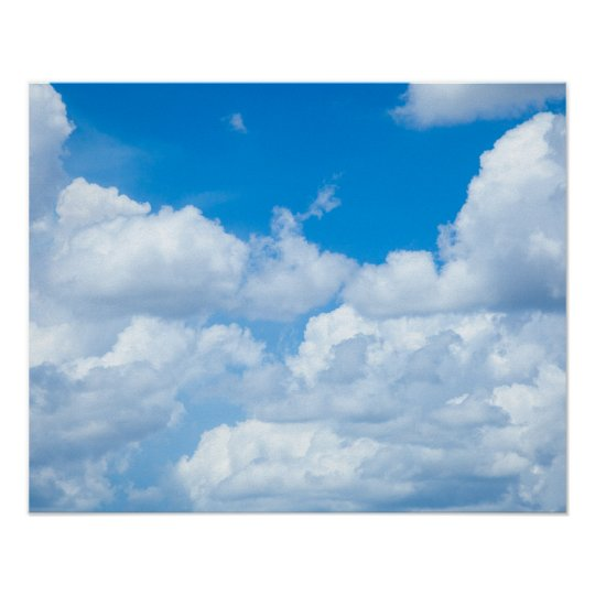 blue sky clouds background skies heaven design poster zazzle com