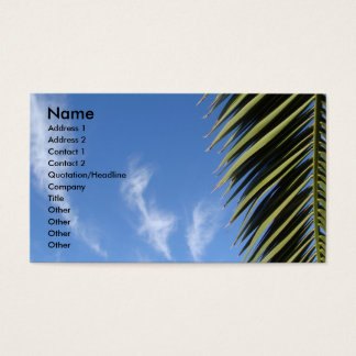 Blue Sky, Clouds, Palm Frond Business Card