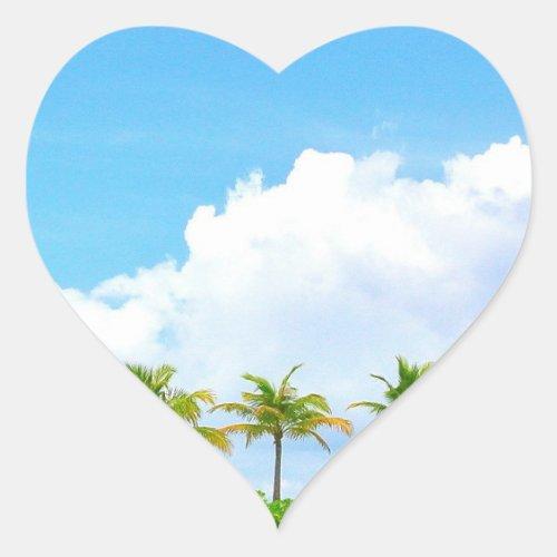 Blue Sky Clouds Palms Custom Blank Template Heart Sticker