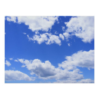 Blue sky clouds poster
