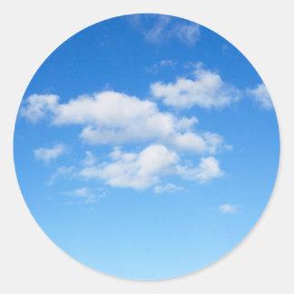 Blue Sky & Clouds Round Sticker