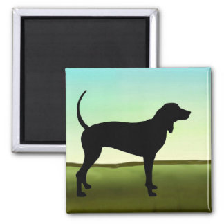 Blue Sky Coonhound 2 Inch Square Magnet