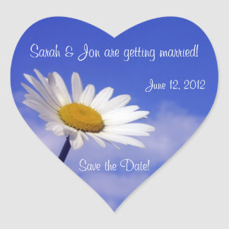 Blue Sky Daisy Save the Date Sticker