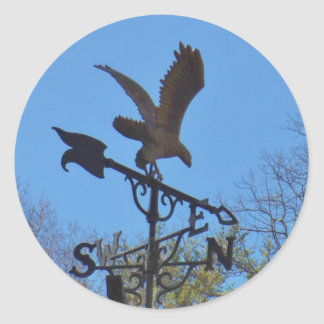 Blue sky, Eagle and Arrow Weather vane Round Sticker
