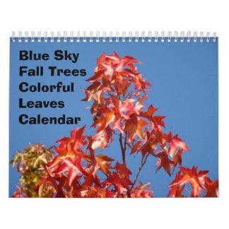 Blue Sky Fall Trees Calendar Colorful Leaves