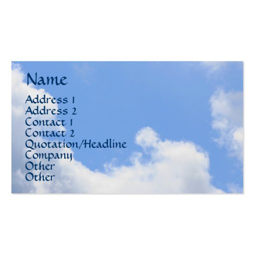 Blue Sky Fluffy Clouds Nature Business Card
