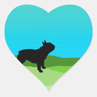 Blue Sky French Bulldog Heart Stickers