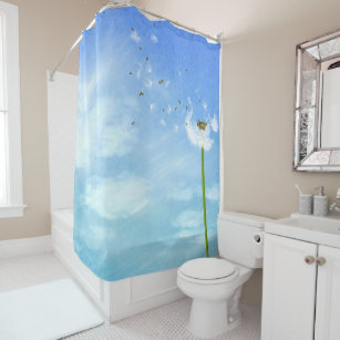 Blue Sky Fresh Air And Dandelion In The Wind Shower Curtain