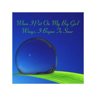 "Blue Sky Full Moon Dew Drop ""Big Girl Wings"" Canvas Print"