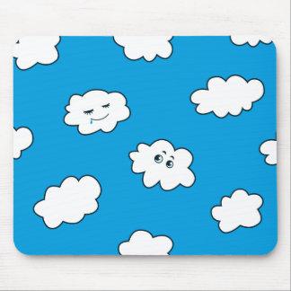Blue Sky Funny Cartoon Clouds Mouse Pad