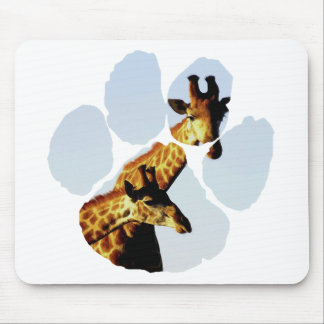 blue sky giraffe Footprint Mouse Pad