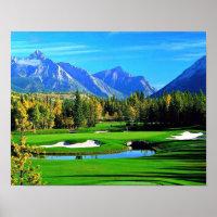 Blue Sky Green Grass Mountain Image Golf Poster