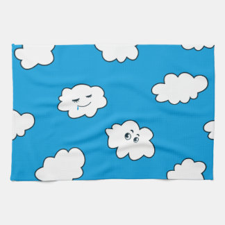 Blue Sky Happy Funny Clouds Kitchen Towel