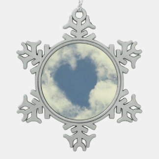Blue Sky Heart and Clouds Snowflake Pewter Christmas Ornament