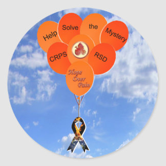 Blue Sky Help Solve the Mystery CRPS RSD Balloons Classic Round Sticker