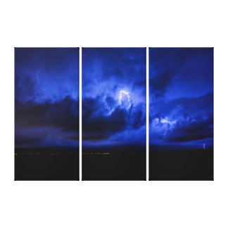 Blue Sky Lightning Triptych Wall Art