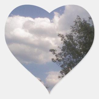 Blue Sky Line Heart Sticker