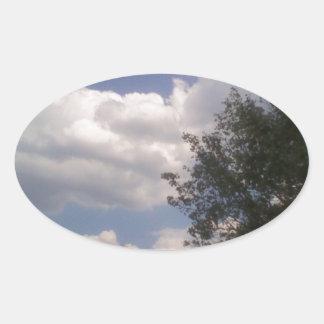 Blue Sky Line Oval Sticker
