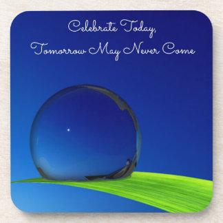Blue Sky Moon In Dew Drop Celebrate Quote Coaster