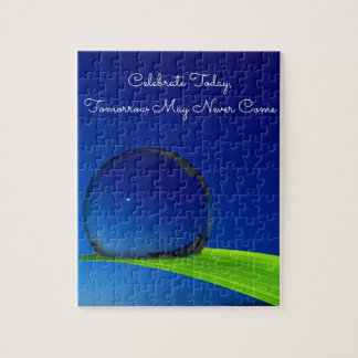 Blue Sky Moon In Dew Drop Celebrate Quote Jigsaw Puzzle
