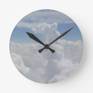 Blue Sky Nature White Puffy Cloud Formations Round Clock