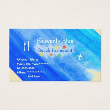 Beach Themed Blue sky ocean Beach Restaurant honu plemeria Business Card