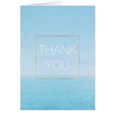 Beach Themed Blue Sky Ocean Beach Thank you Card