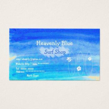 Beach Themed Blue sky ocean watercolor Surf shop2 sand beach Business Card
