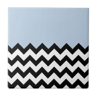 Blue-Sky-On-Black-&-White-Zigzag-Pattern Ceramic Tile