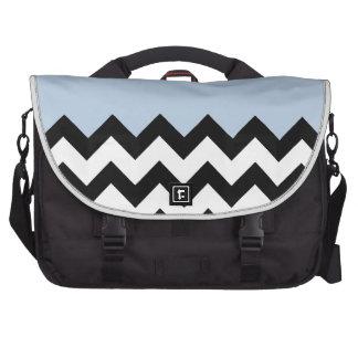 Blue-Sky-On-Black-&-White-Zigzag-Pattern Laptop Bag