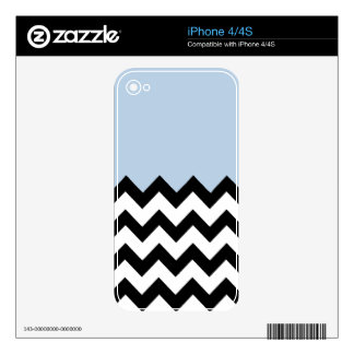 Blue-Sky-On-Black-&-White-Zigzag-Pattern iPhone 4 Decals